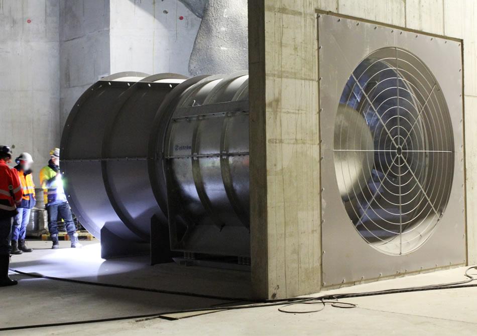 Applus+ ensaya la resistencia al fuego de uno de los mayores ventiladores del mercado antes de su instalación en un túnel en los Alpes