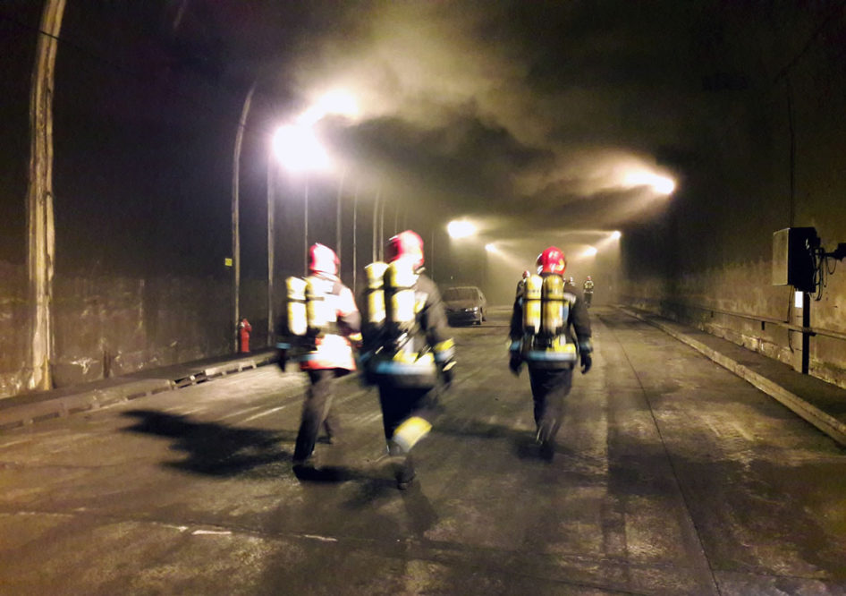 Training on fire in tunnels and galleries